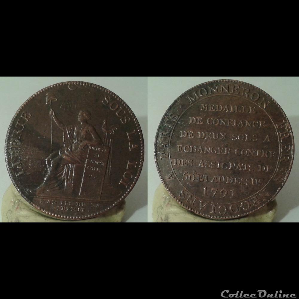 monnaie france moderne 1791 2 sols monneron