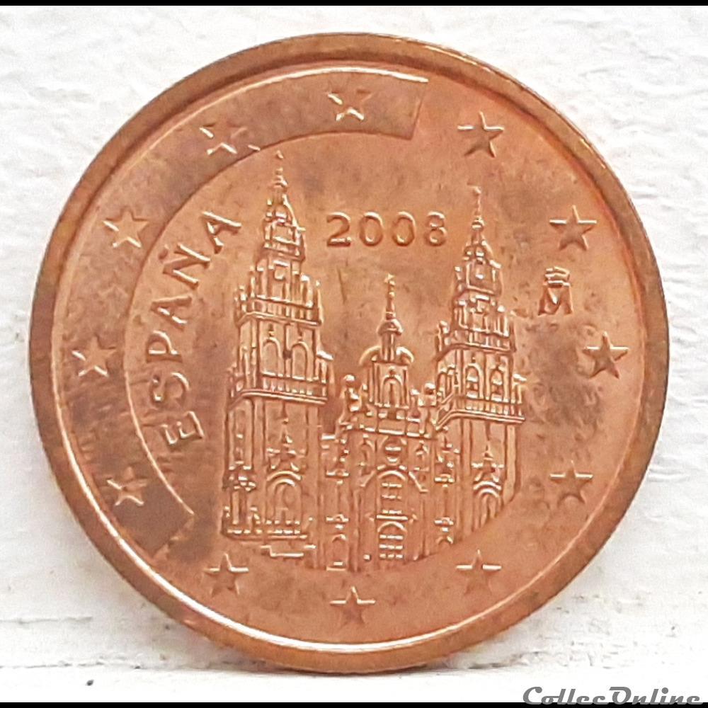 monnaie euro espagne 2008 2 cents