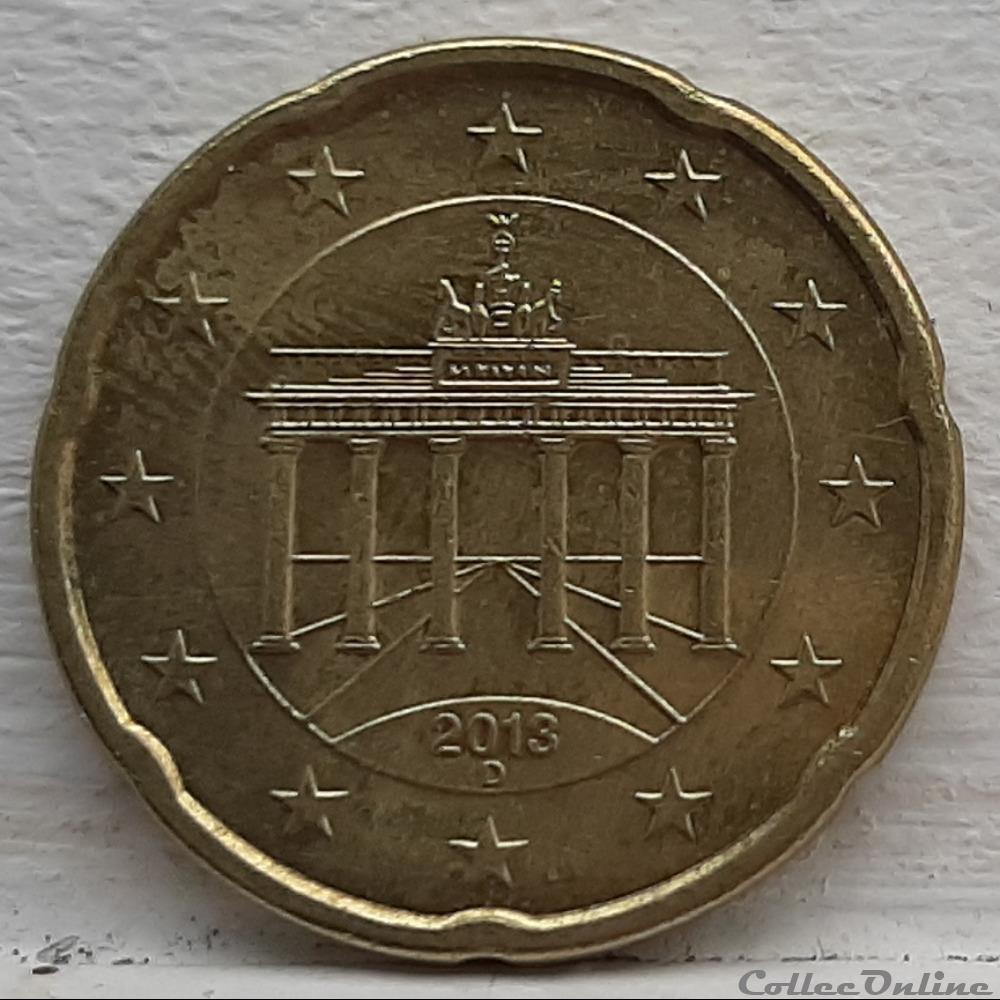 monnaie euro allemagne 2013 d 20 cents