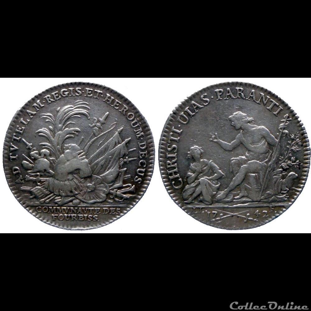 medaille france professionnel societe ar jeton 1742 corporation des fourbisseurs fe 5104