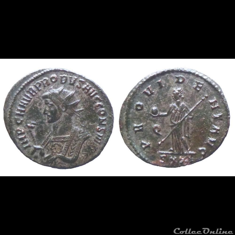 monnaie antique romaine probus ae aurelianus cons iii provident avg ticinum