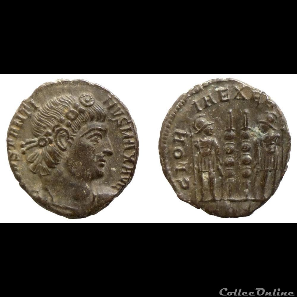monnaie antique av jc ap romaine constantine i ae reduced follis gloria exercitvs trier ric 549