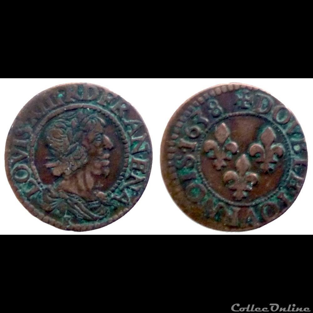 monnaie france royale louis xiii double tournois 1638 e
