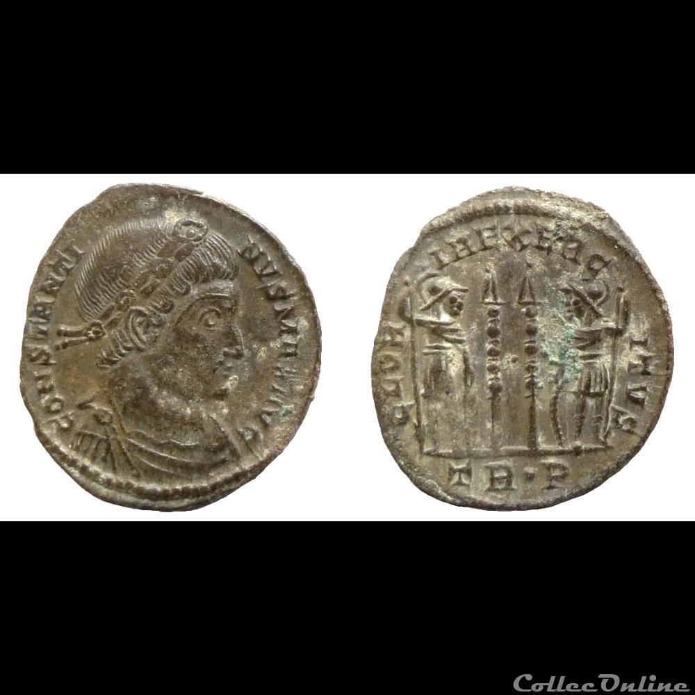 monnaie antique romaine constantin i ae follis reduit gloria exercitvs trier ric 537