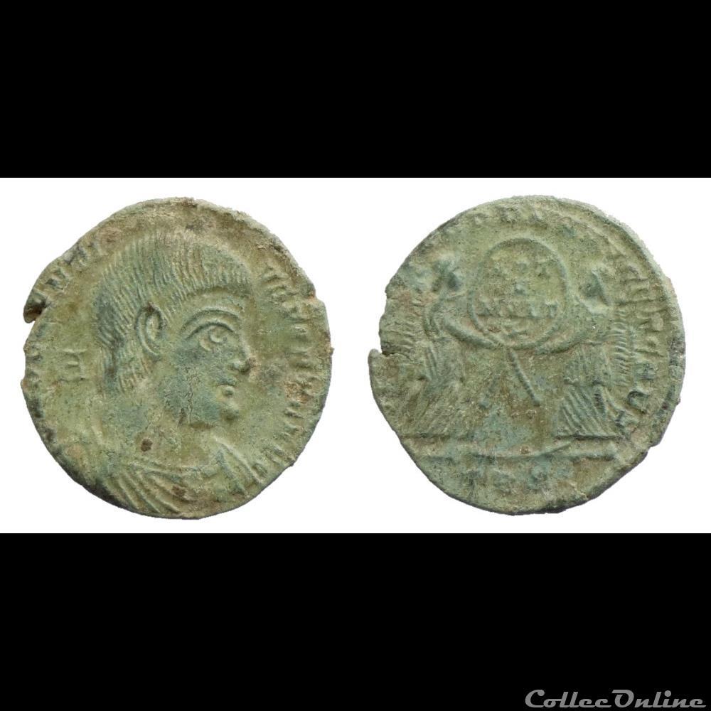 monnaie antique romaine magnentius ae2 victoriae dd nn avg et caes trier