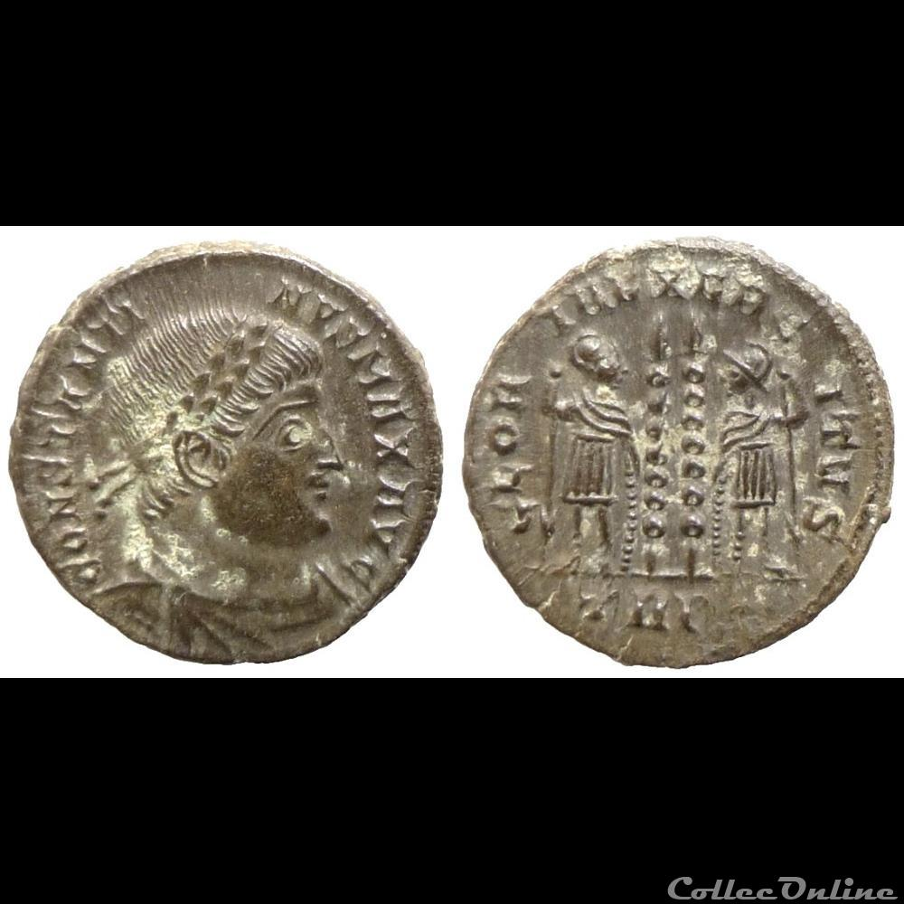 monnaie antique romaine constantin i ae follis reduit gloria exercitvs trier ric 526