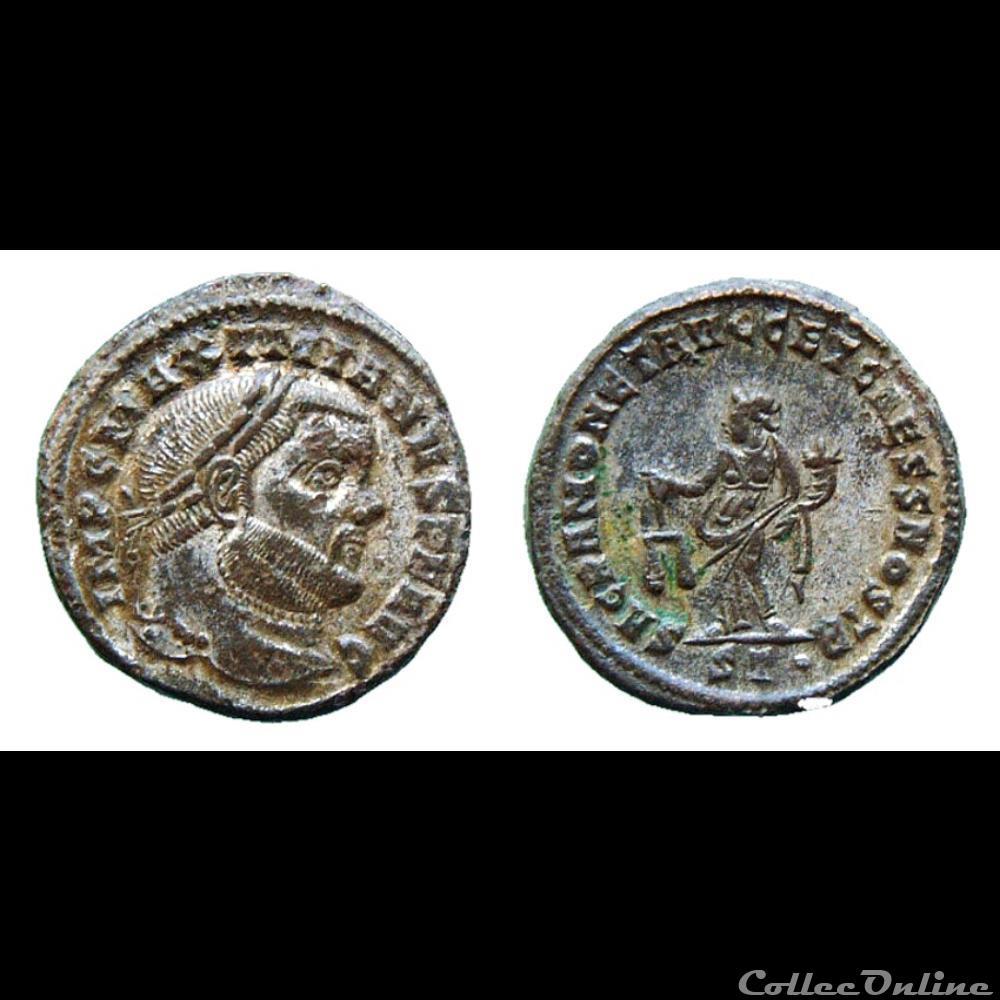 monnaie antique romaine maximianus follis sacra monet ticinum
