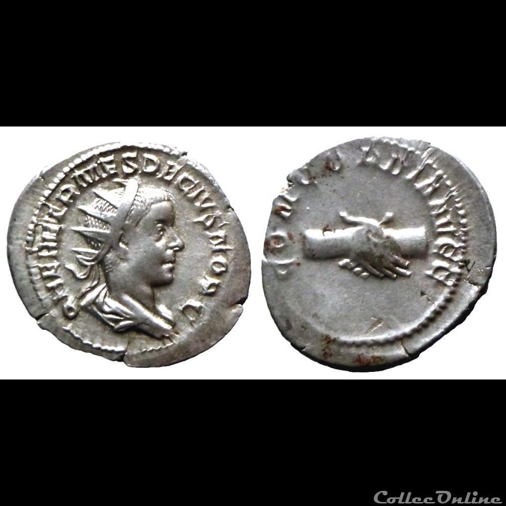 monnaie antique romaine herennius etruscus ar antoninien concordia avgg