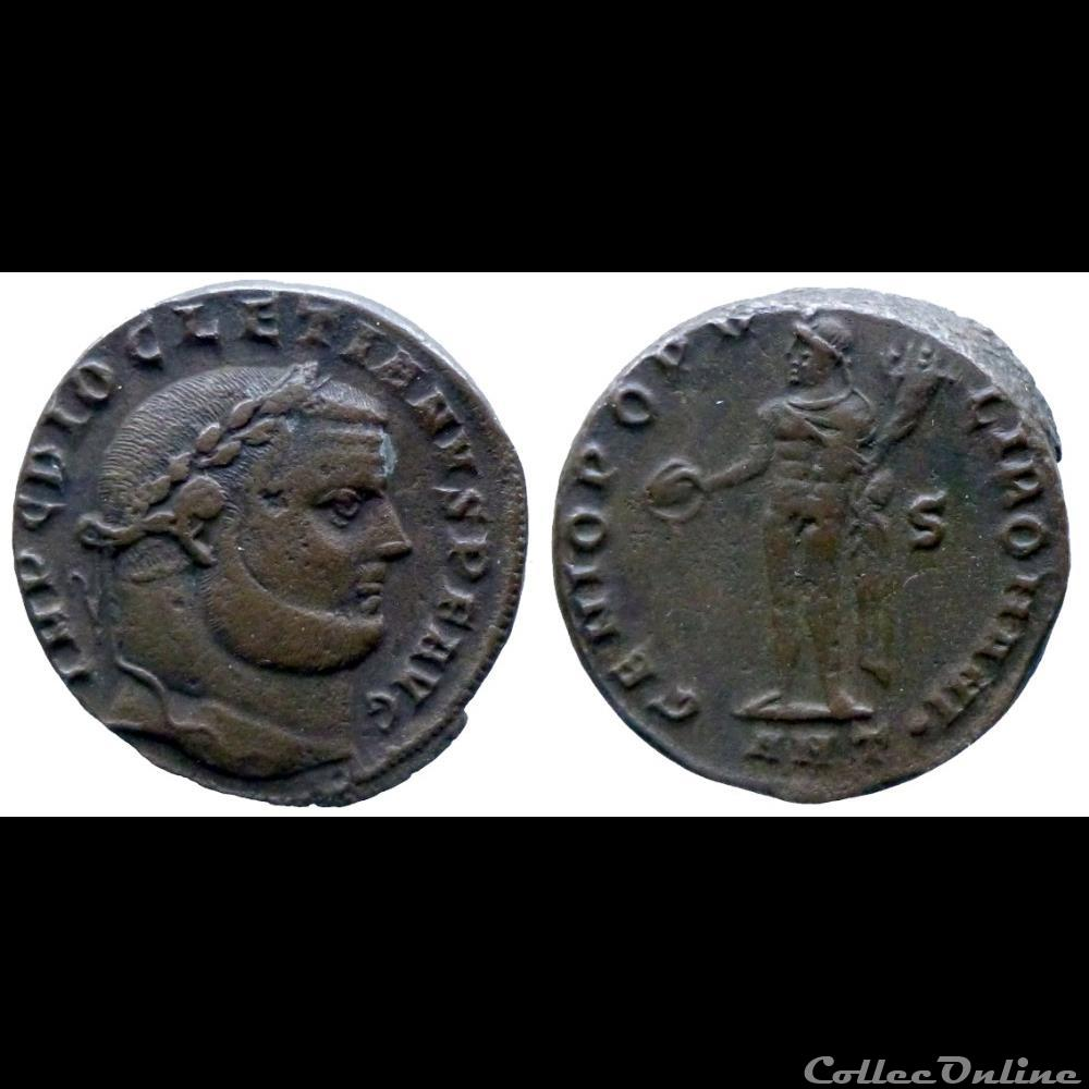 monnaie antique romaine diocletianus ae follis genio popvli romani antiochia
