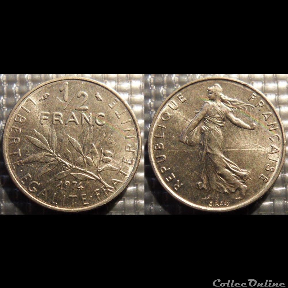 monnaie france moderne gl 1 2 franc semeuse 1974 19 5mm 4 5g