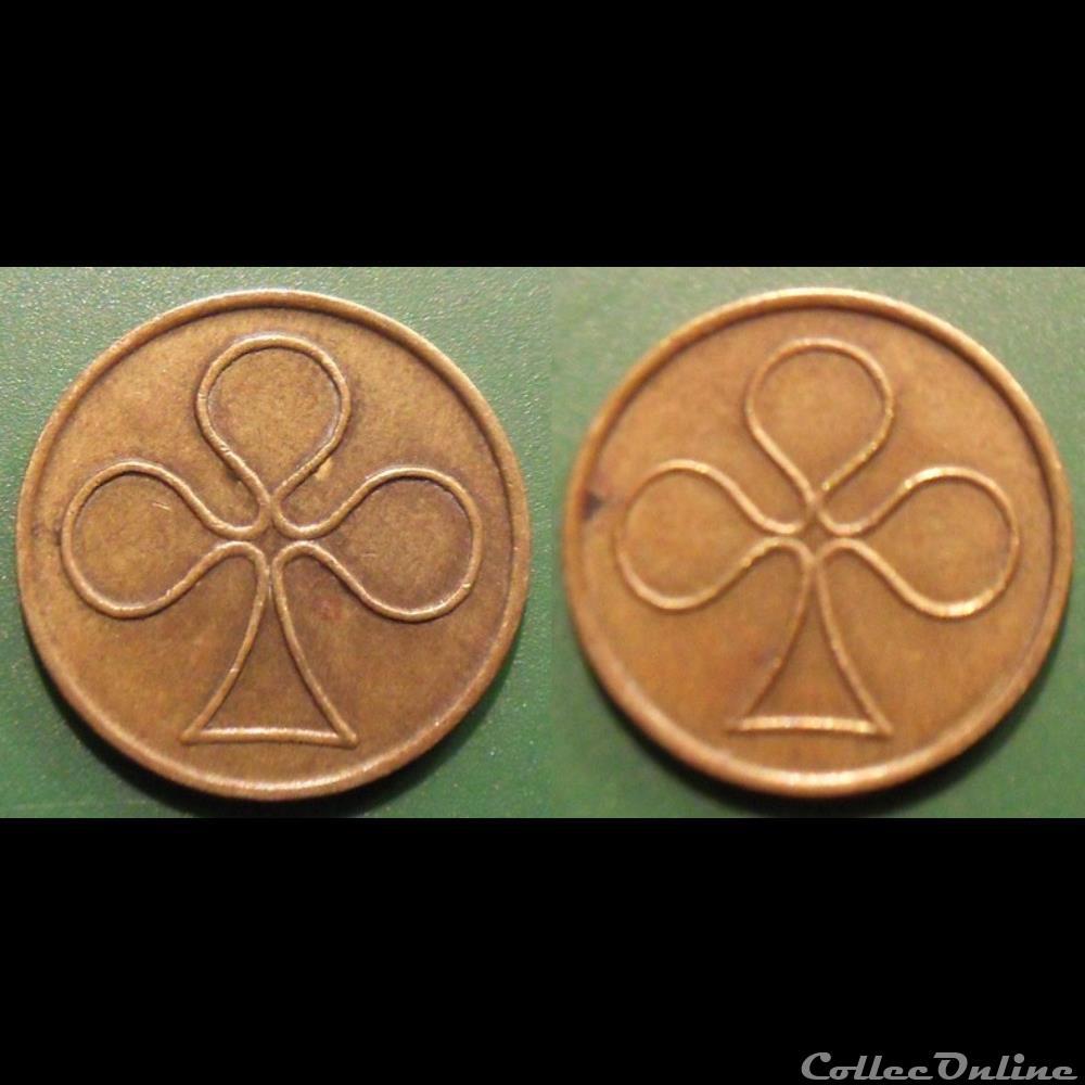 monnaie mereaux i jeton anonyme trefle a trois feuilles