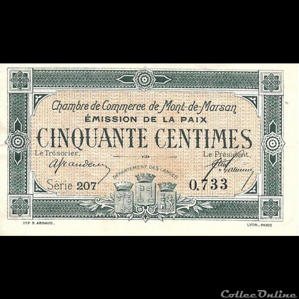 billet france banque xxe e1 50cent chambre de commerce de mont de marsan emission de la paix