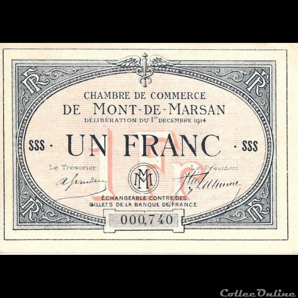 billet france banque xxe a2 1fr chambre de commerce de mont de marsan deliberation du 1 decembre 1914