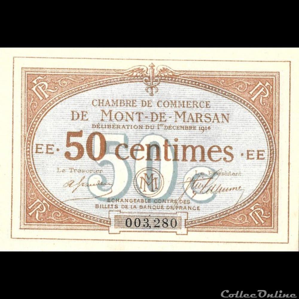billet france a1 50c chambre de commerce de mont de marsan deliberation du 1 decembre 1914