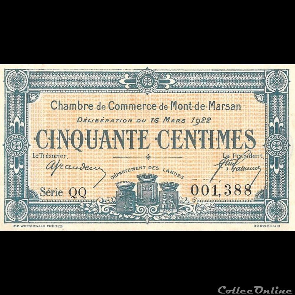 billet france g11 50c chambre de commerce de mont de marsan deliberation du 16 mars 1922
