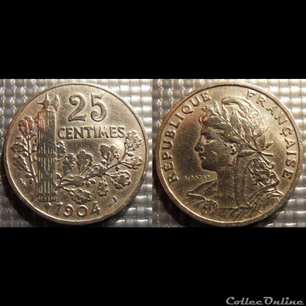 monnaie france moderne fb 25 centimes patey faisceau 1904 24mm 7g