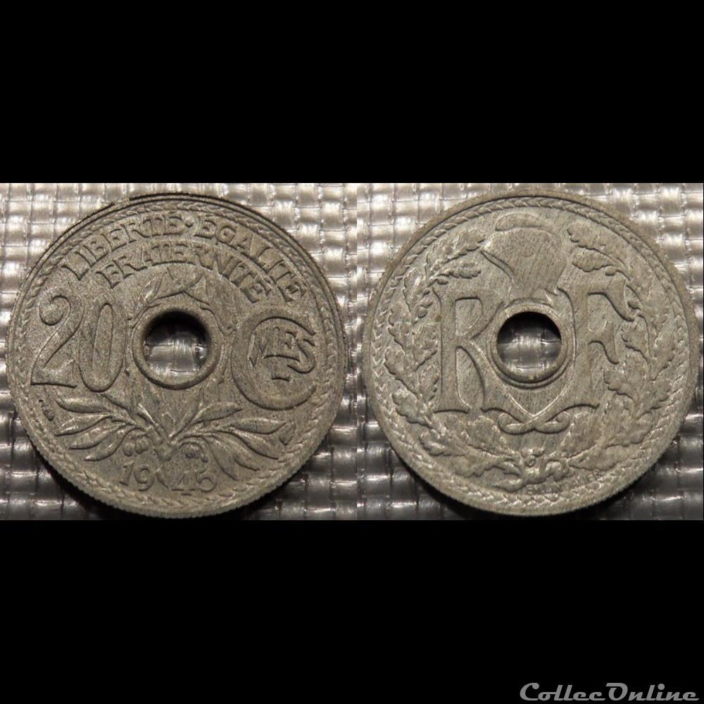 monnaie france moderne ed 20 centimes em lindauer 1945 24mm 3g
