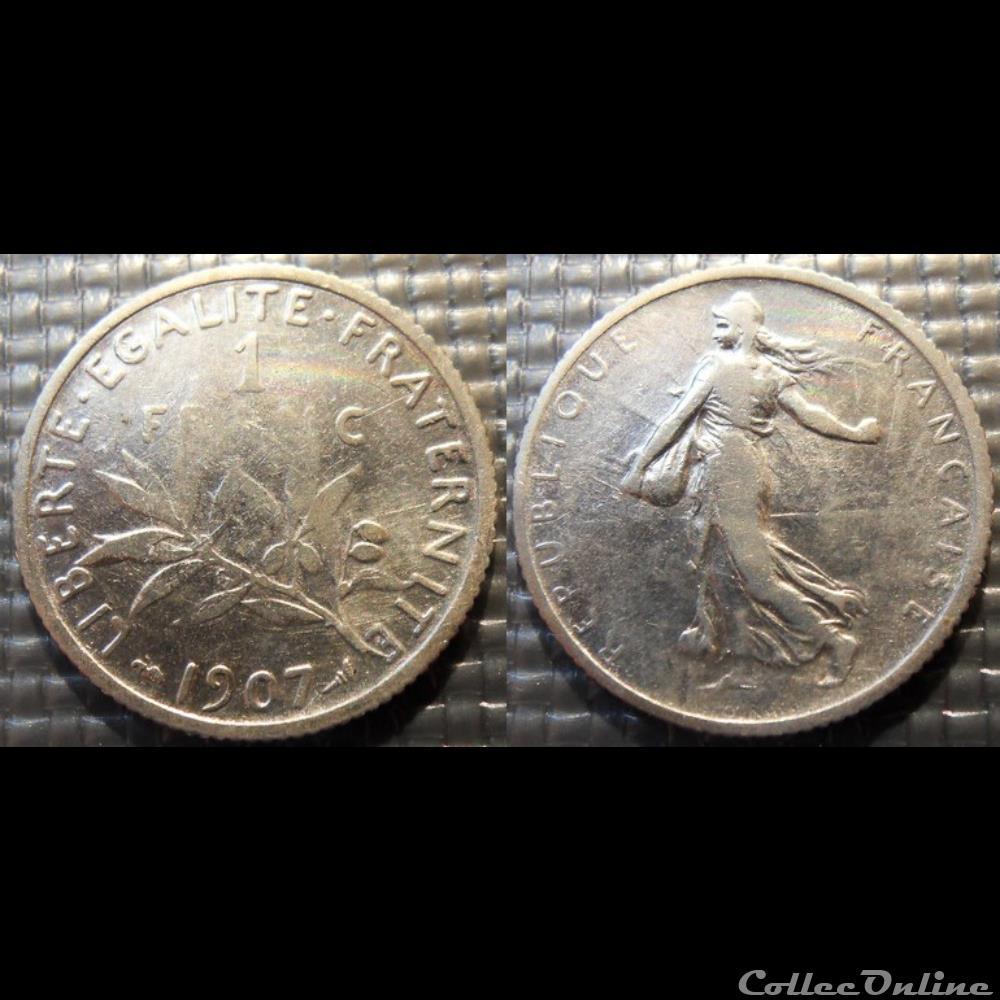monnaie france moderne ha 1 franc semeuse 1907 23mm 5g