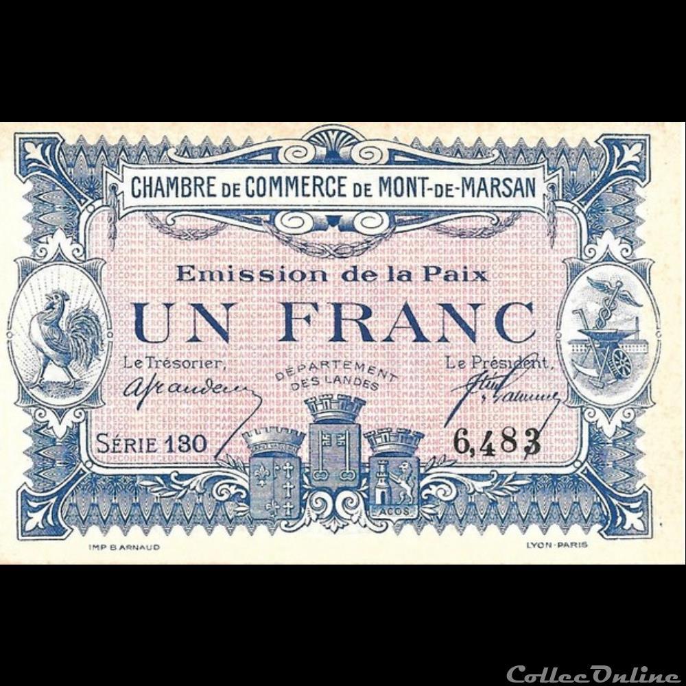 billet france banque xxe e2 1fr chambre de commerce de mont de marsan emission de la paix