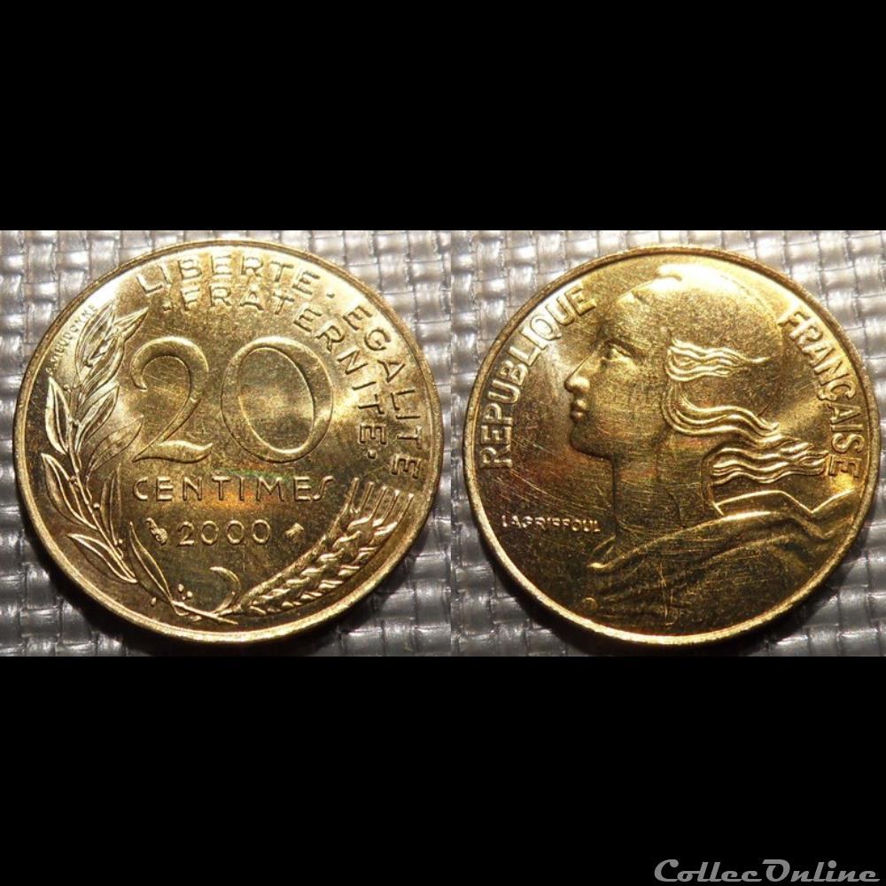 monnaie france moderne ef 20 centimes marianne 2000 23 5mm 4g