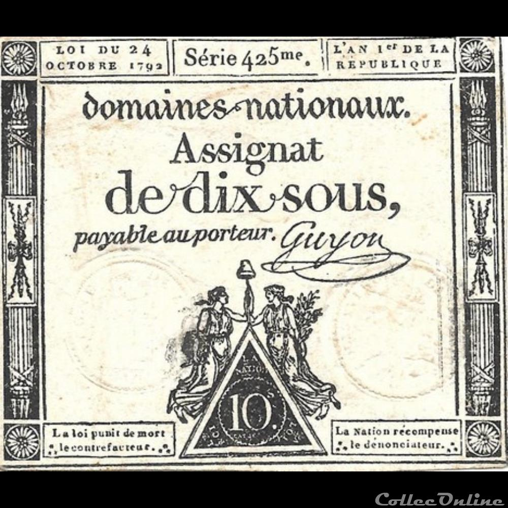 billet france assignat de dix sous