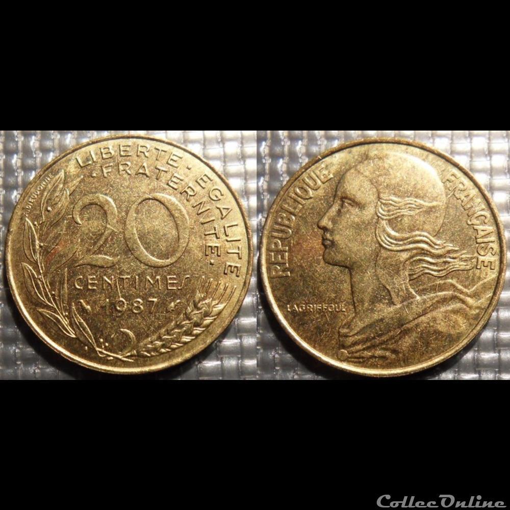 monnaie france moderne ef 20 centimes marianne 1987 23 5mm 4g