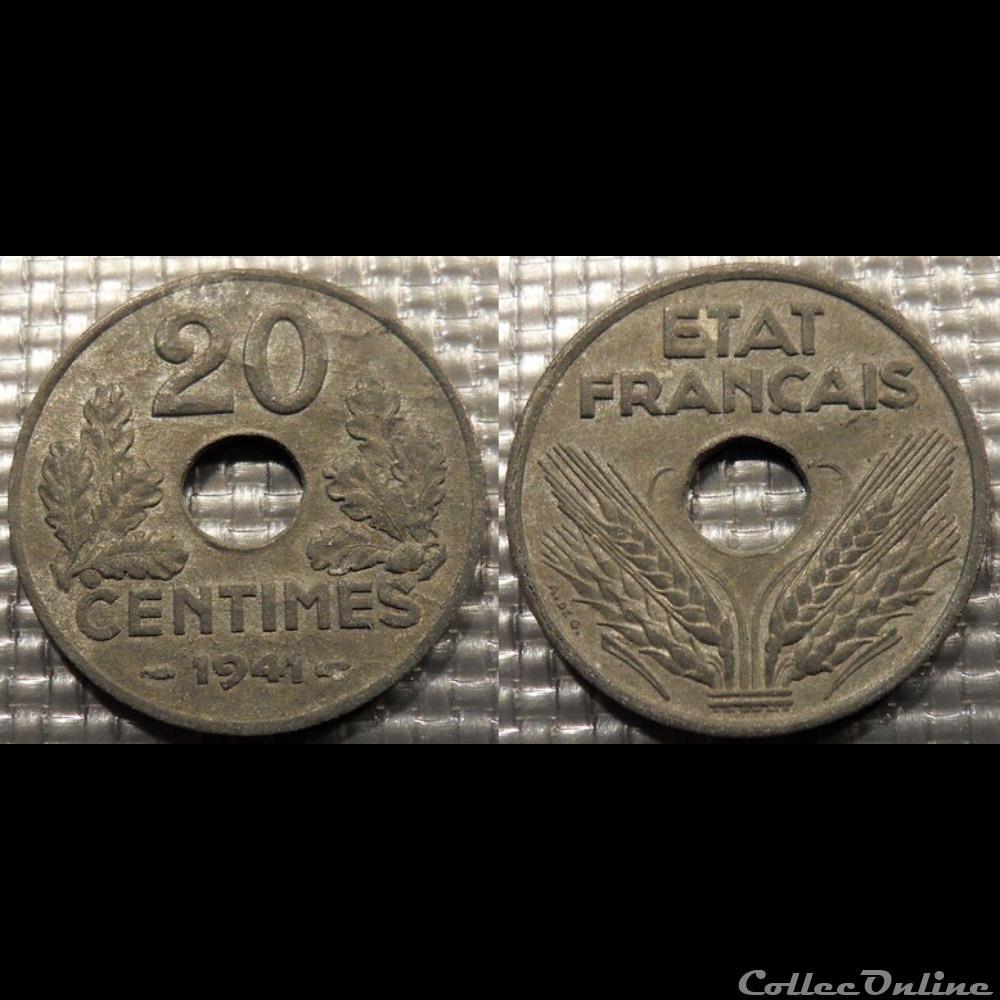 monnaie france moderne eb 20 centimes etat francais 1941 24mm 3 5g