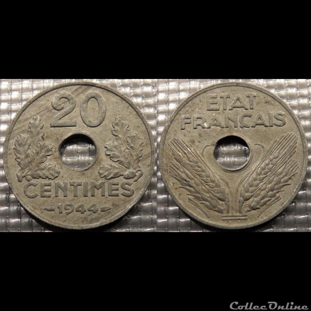 monnaie france moderne eb 20 centimes etat francais 1944 24mm 3 5g
