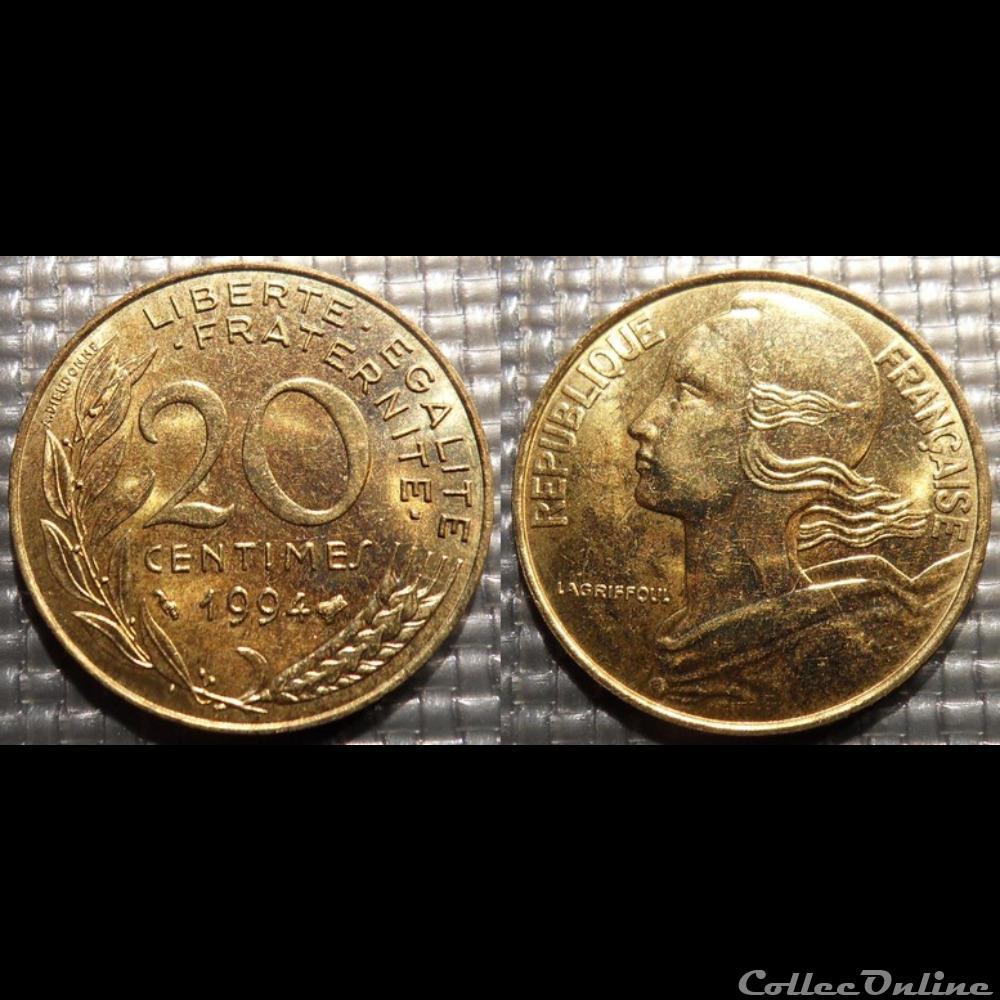 monnaie france moderne ef 20 centimes marianne 1994 23 5mm 4g