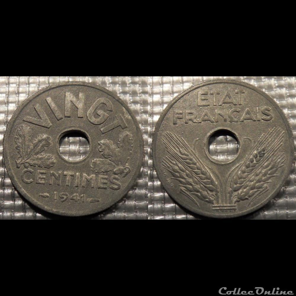 monnaie france moderne ea vingt centimes etat francais 1941 24mm 3 5g