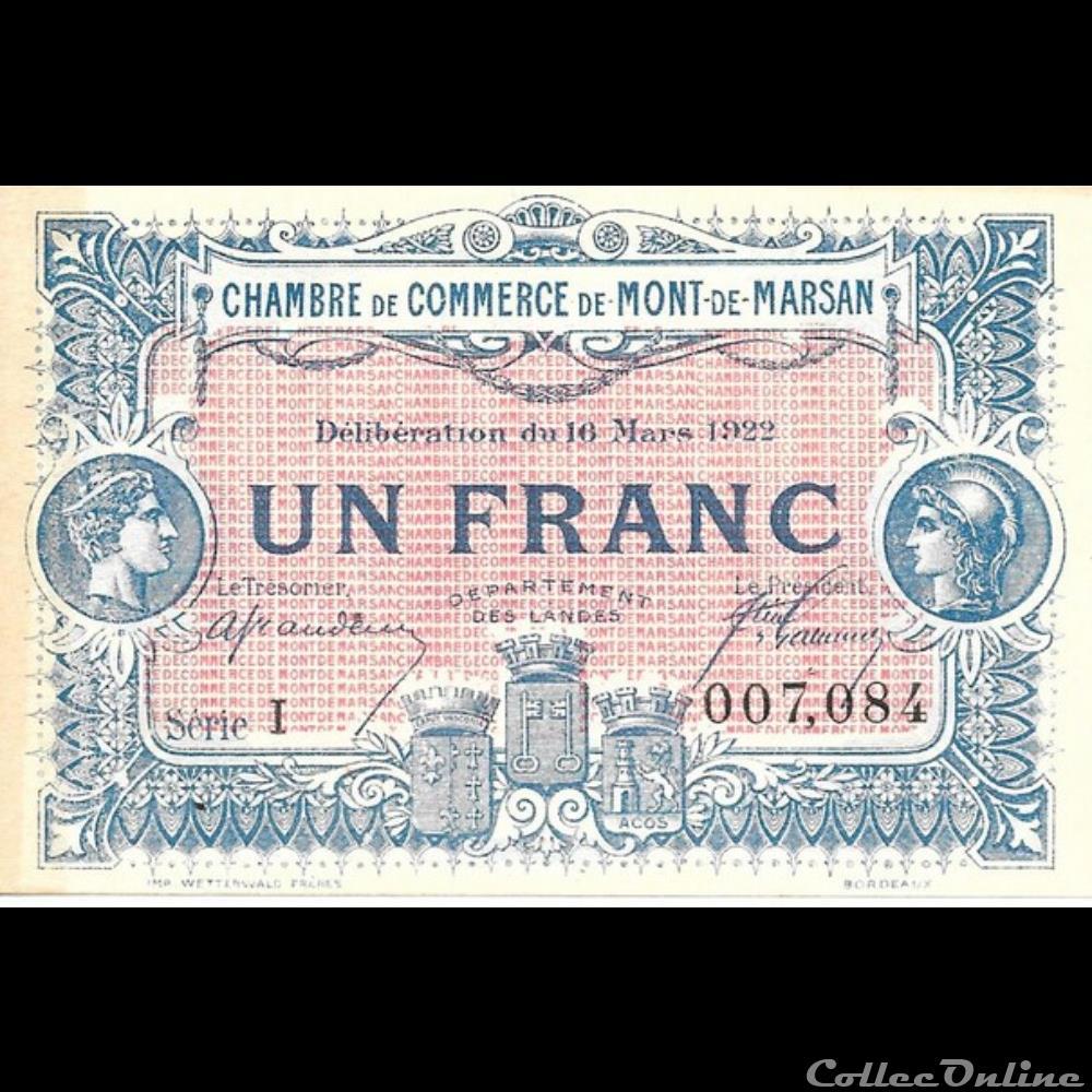 billet france banque xxe g2 1fr chambre de commerce de mont de marsan deliberation du 16 mars 1922