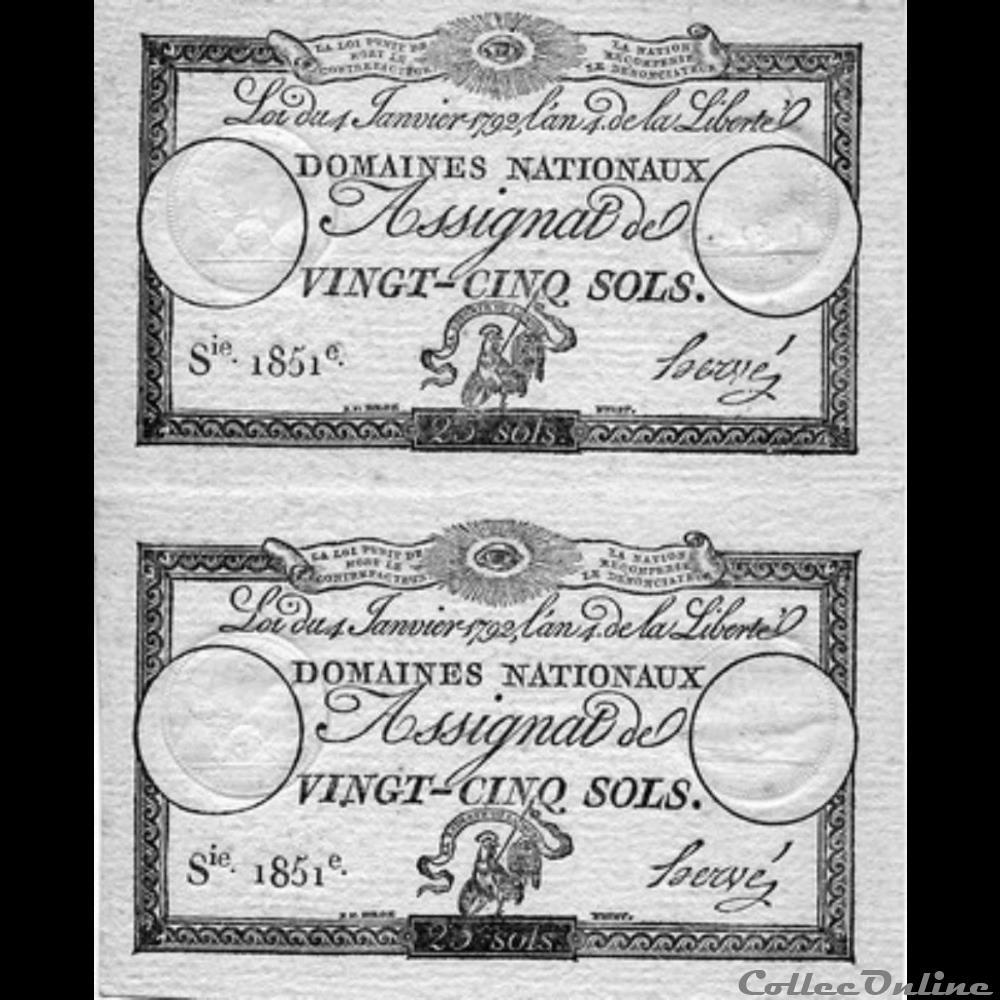 billet france assignats de vingt cinq sols