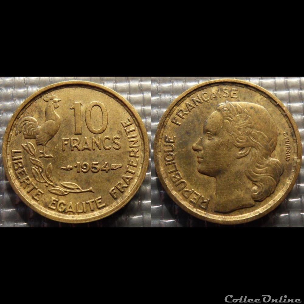 monnaie france moderne le 10 francs guiraud 1954 20mm 3g