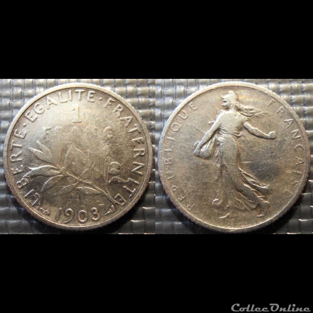 monnaie france moderne ha 1 franc semeuse 1903 23mm 5g
