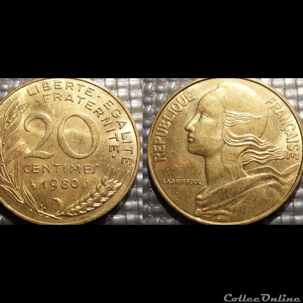 monnaie france moderne ef 20 centimes marianne 1980 23 5mm 4g