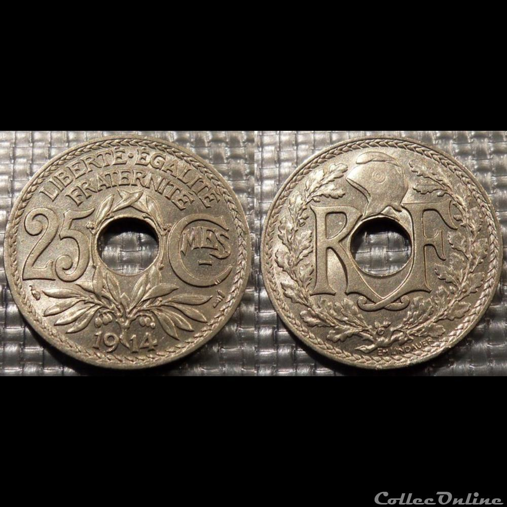 monnaie france moderne fc 25 centimes em lindauer 1914 24mm 5g
