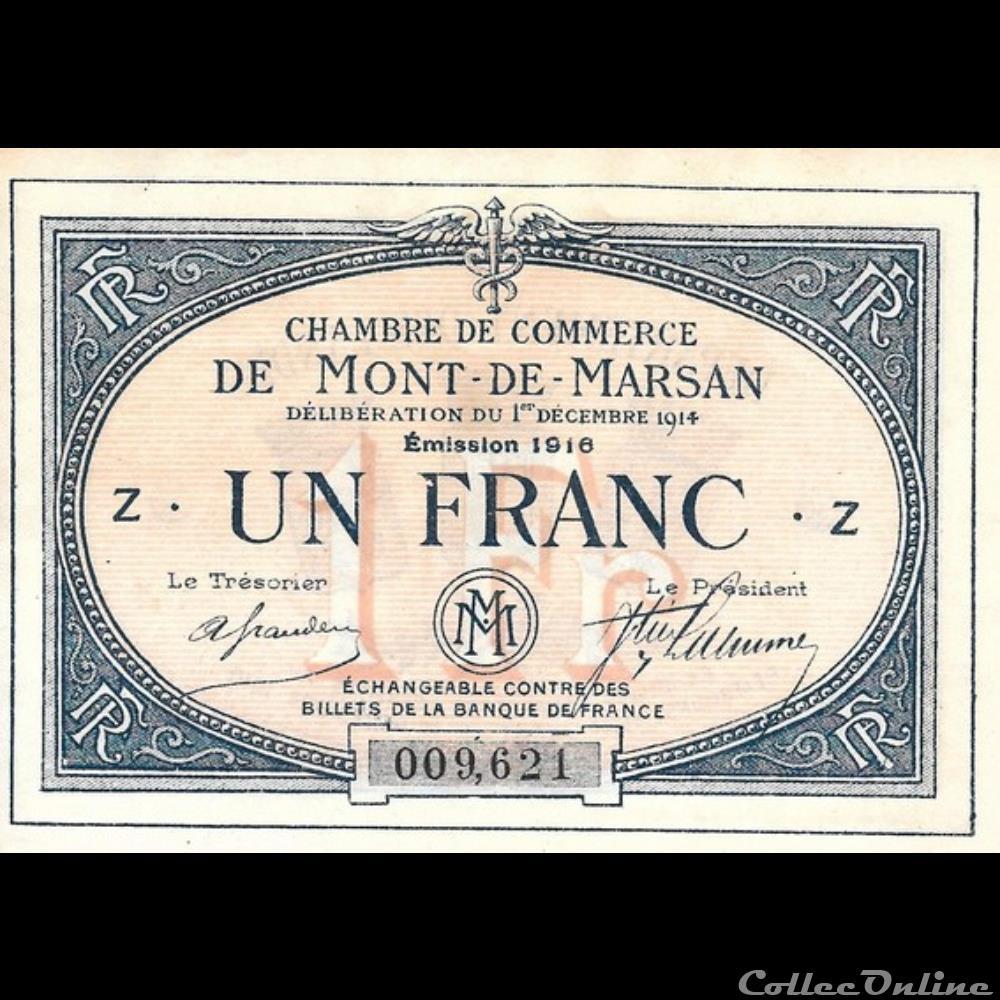 billet france banque xxe b2 1fr chambre de commerce de mont de marsan deliberation 1 decembre 1914 emission 1916