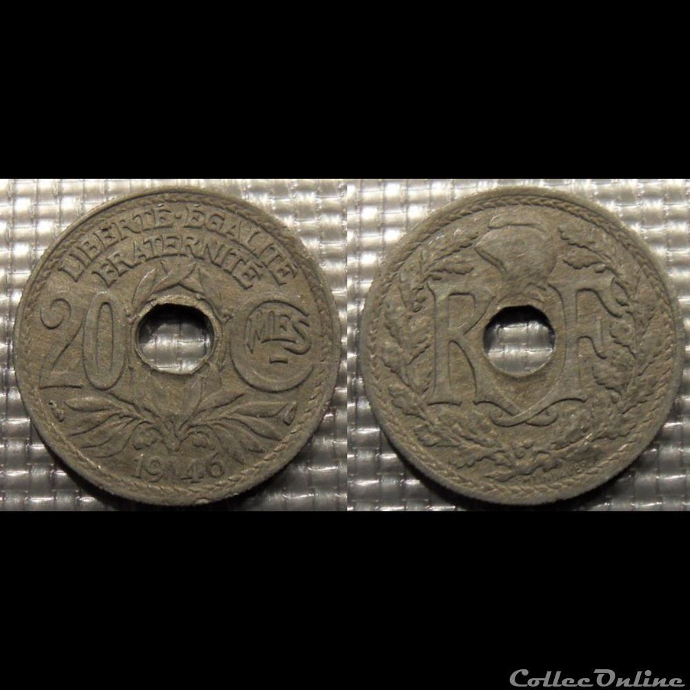 monnaie france moderne ed 20 centimes em lindauer 1946 24mm 3g