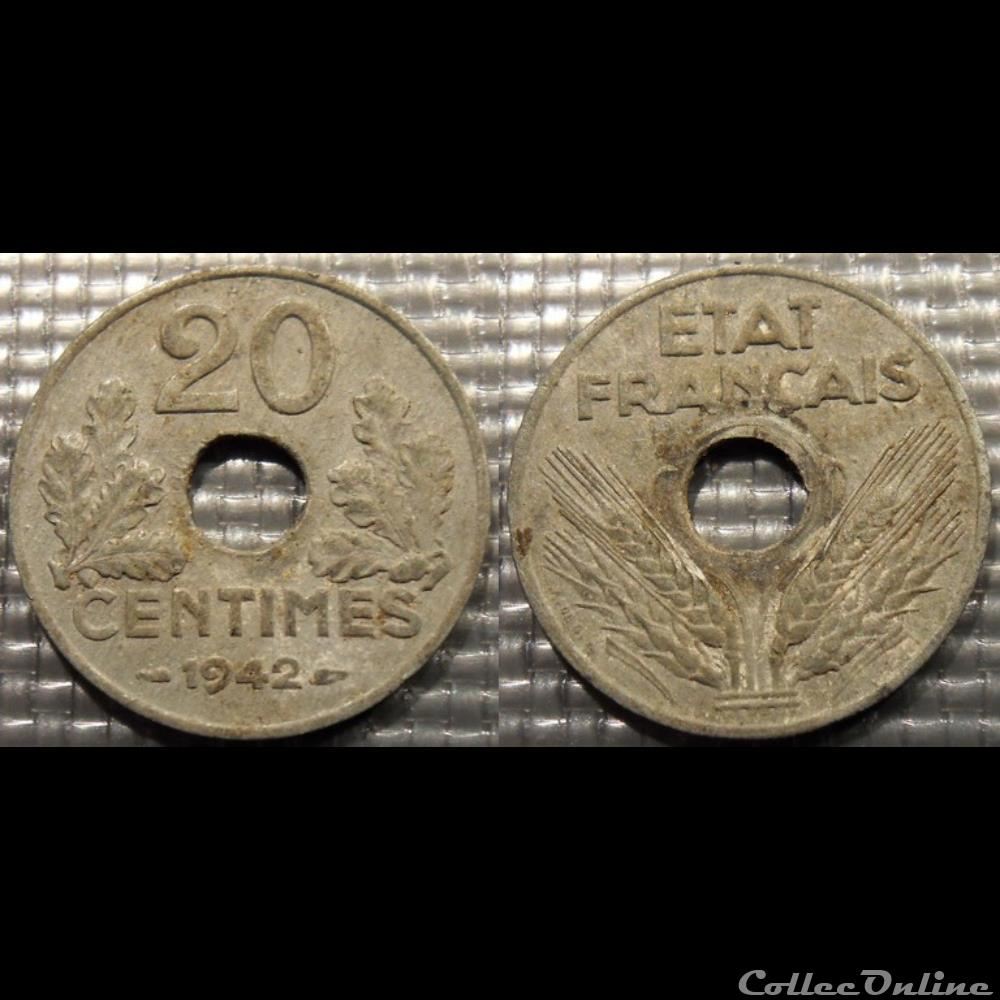 monnaie france moderne eb 20 centimes etat francais 1942 24mm 3 5g