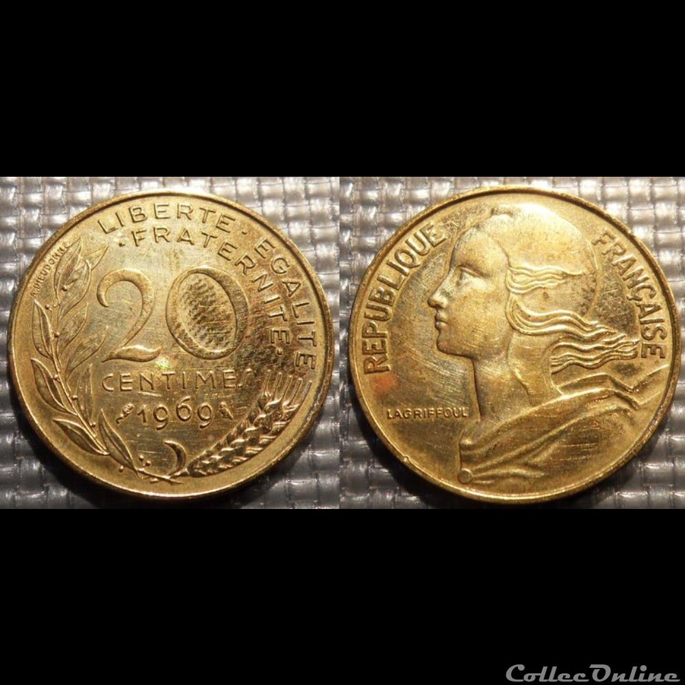 monnaie france moderne ef 20 centimes marianne 1969 23 5mm 4g