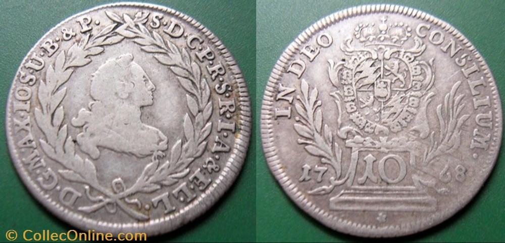monnaie germany baviere 10 kreuzer 1768