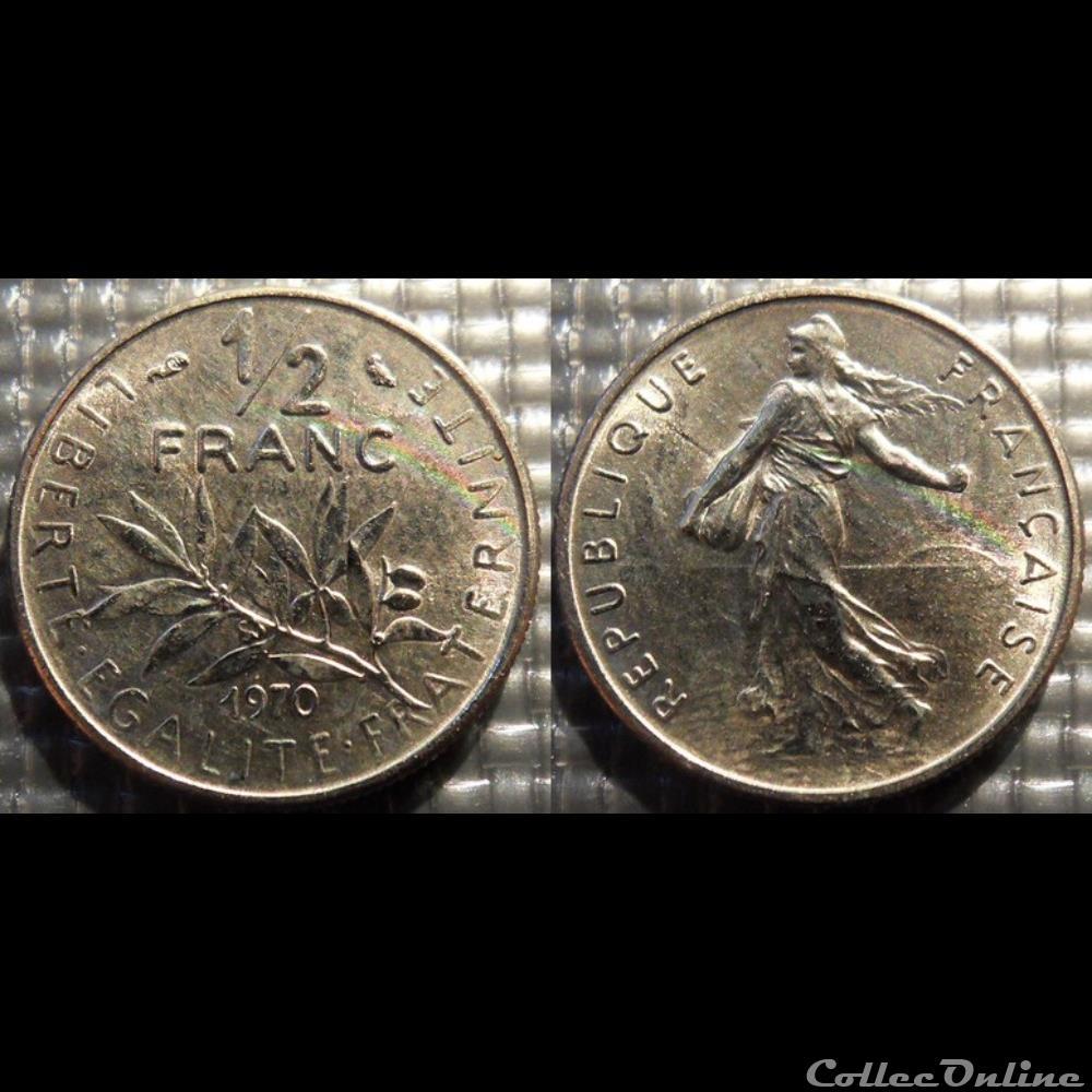 monnaie france moderne gl 1 2 franc semeuse 1970 19 5mm 4 5g