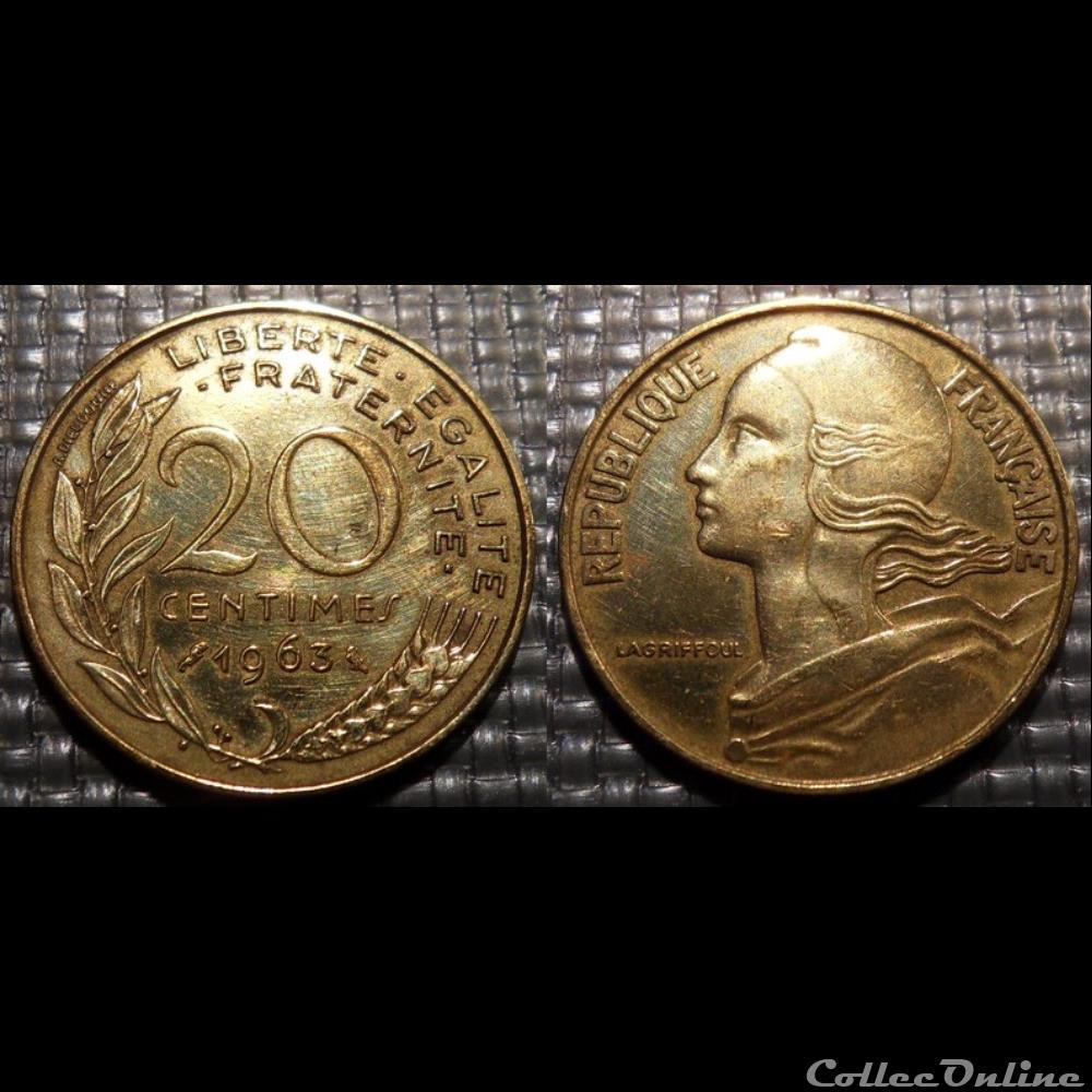monnaie france moderne ef 20 centimes marianne 1963 23 5mm 4g