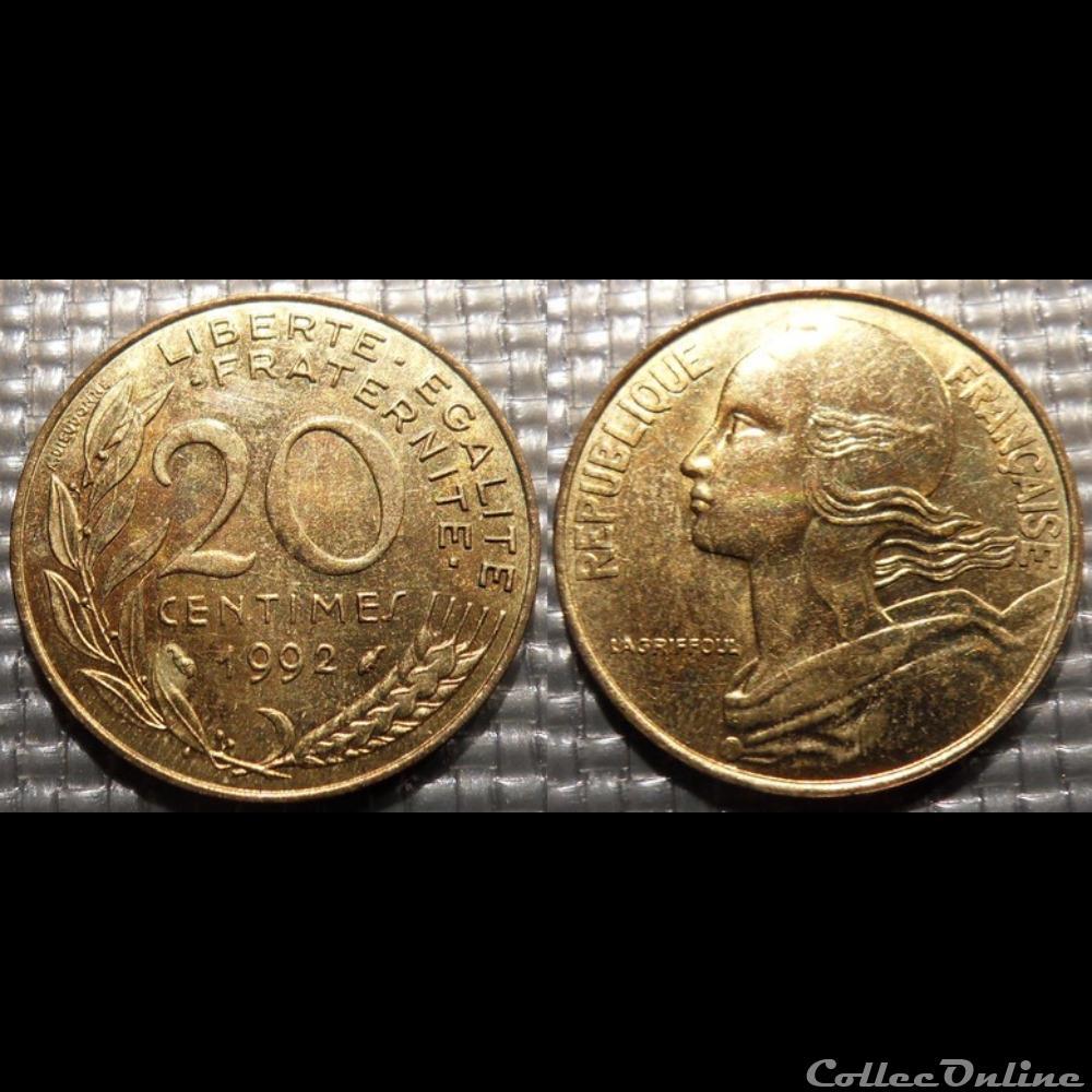 monnaie france moderne ef 20 centimes marianne 1992 23 5mm 4g