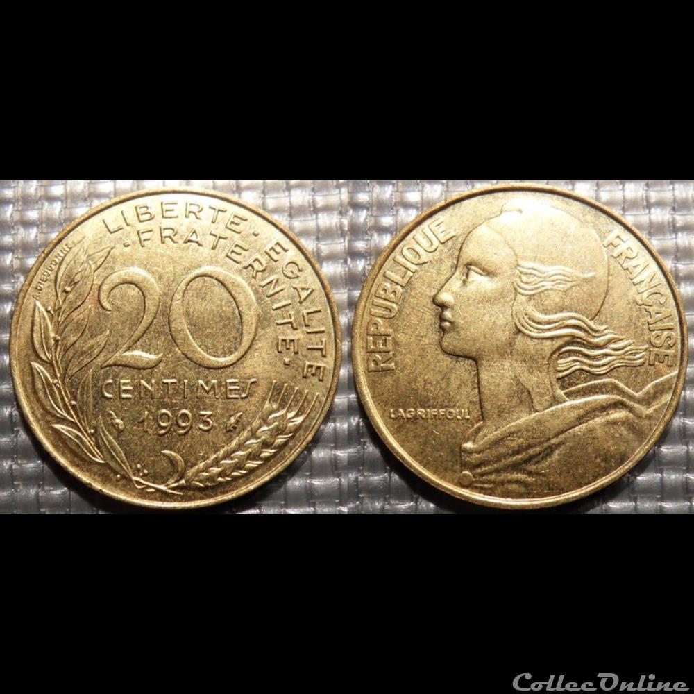 monnaie france moderne ef 20 centimes marianne 1993 23 5mm 4g