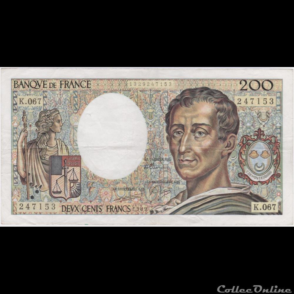 billet france banque de xxe f 70 09 1989 k 067 n 247153 ttb