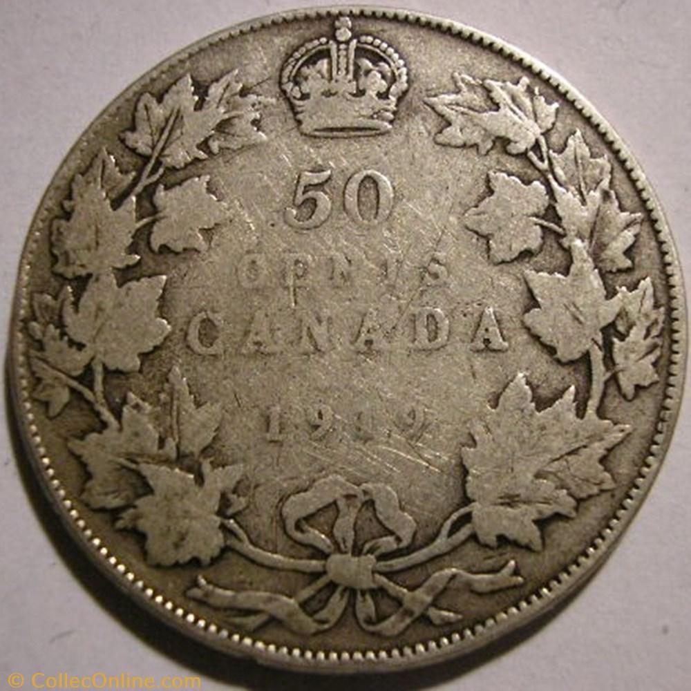 monnaie monde canadum george v 50 cents 1919 ex 2