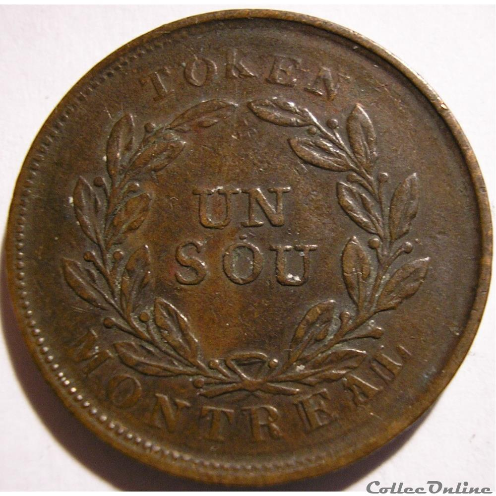 monnaie monde canadum montreal ca 1835 1838 un sou belleville bouquet token 5 shamrocks