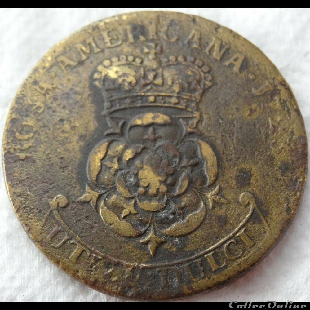 monnaie monde irlande 1723 rosa america two pence george ist