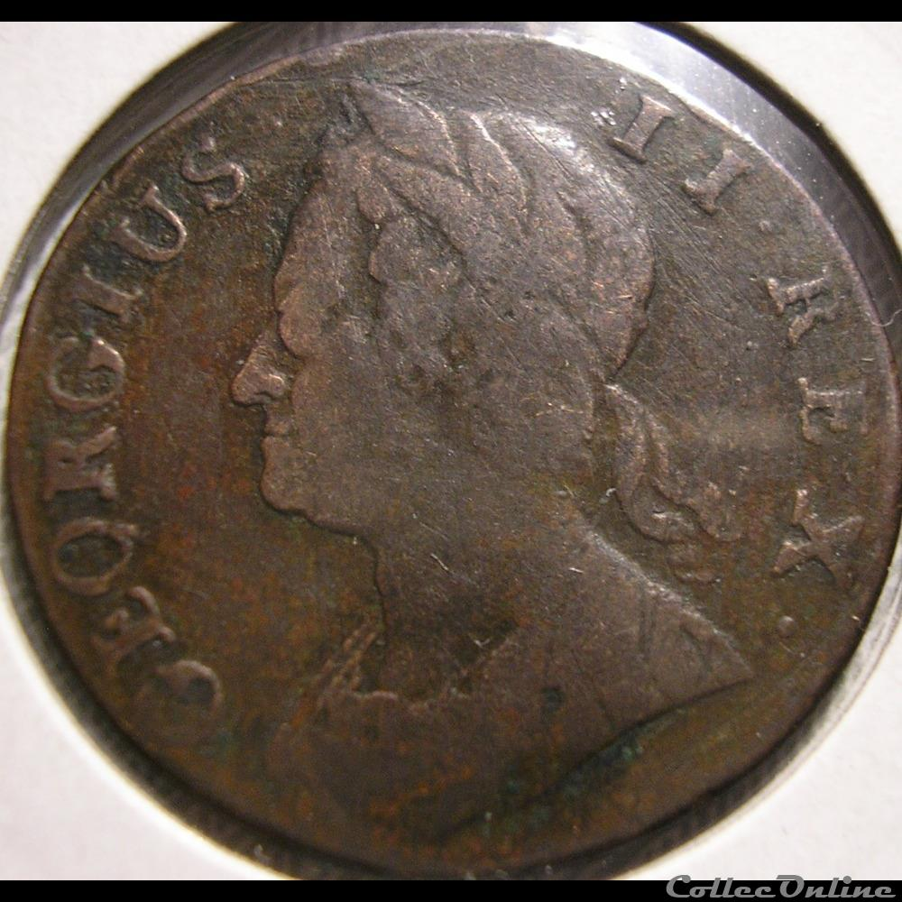 monnaie monde royaume uni george ii half penny 1744 great britain